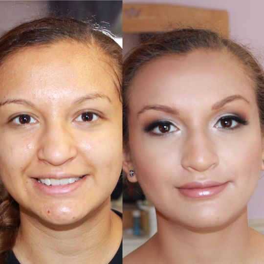Before & after glam makeup