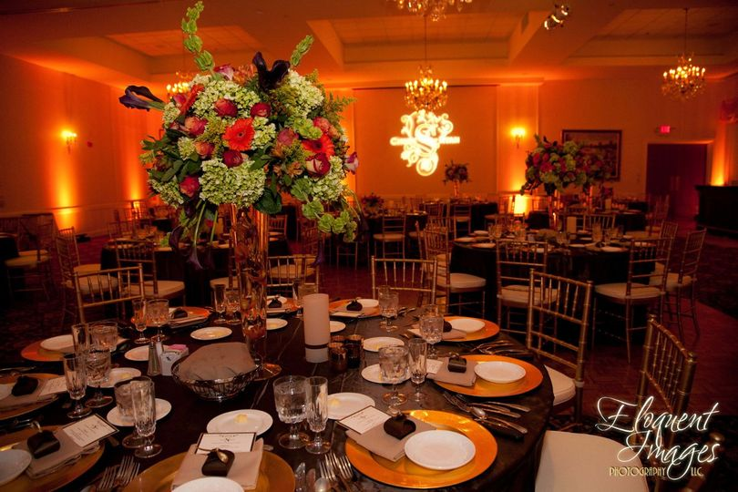 Table with floral centerpiece