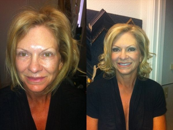 Before and after makeup for the mother of the bride