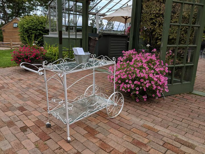 Cart and flowers