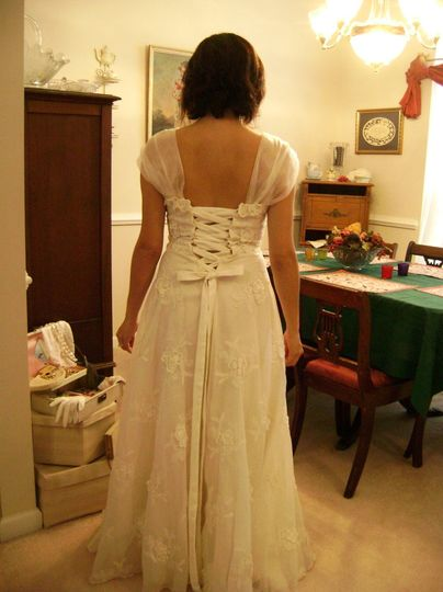 Custom redesign of a vintage heirloom gown - replaced zipper with ribbon/loop closure.