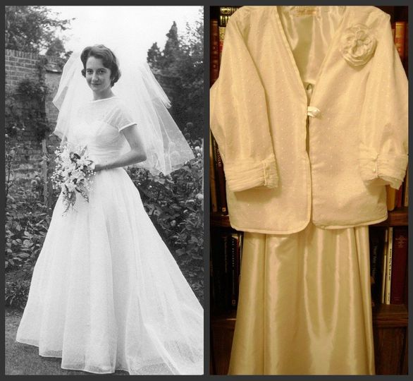 Custom redesign of 50 year old wedding gown into jacket and skirt