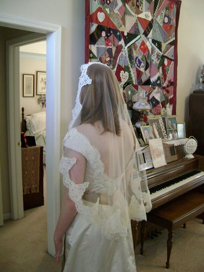 Custom lace edged veil