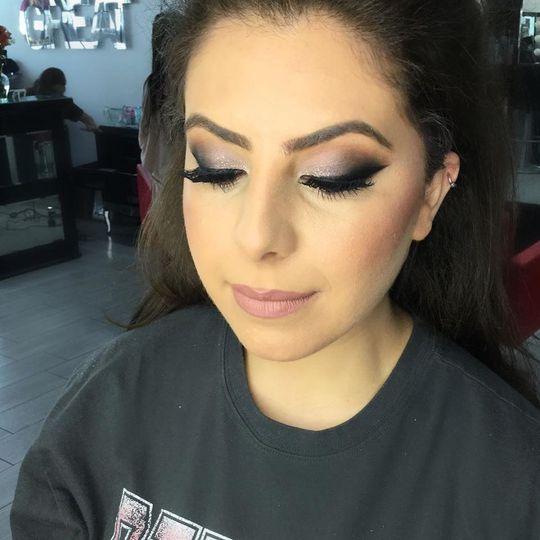 Detailed eye makeup