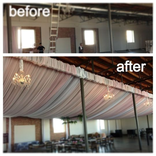 Lofty Spaces Partial Venue Full Ceiling Treatment in White and Blush Pink Chiffon