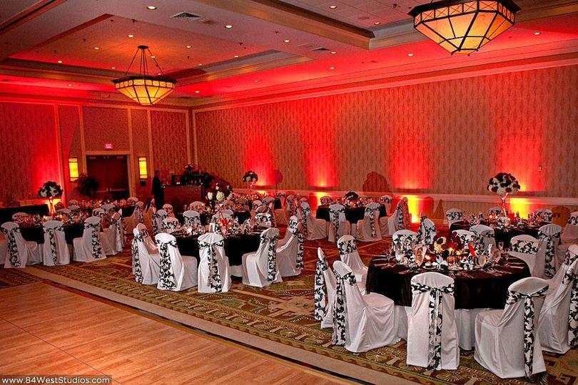 up lighting red wedding