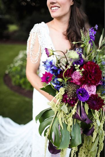 rose moss designs casacading bouquet