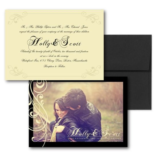 Black Wedding Invitations, Photo Invitations