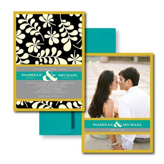 The Darcy InvitationBlack and Yellow Wedding Invitations, Garden Wedding Invitations, Modern Wedding...
