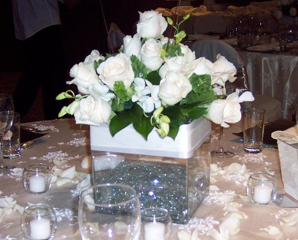 White perfection with clear glass stones in vase
