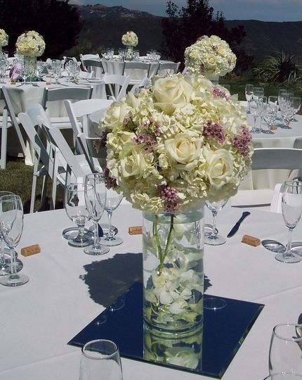 Tall, large hydrangea and orchidswe rent mirrors