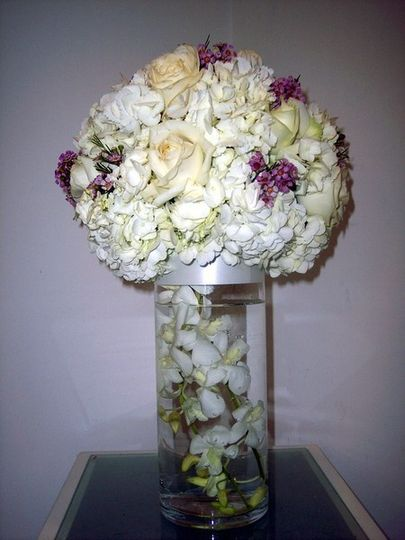 Large ball of hydrangea/white roses/touch of lavender
