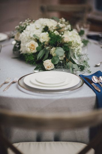 Cutlery and floral centerpiece