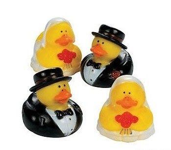 "Bride and Groom Rubber Duckies (2"" high each)"