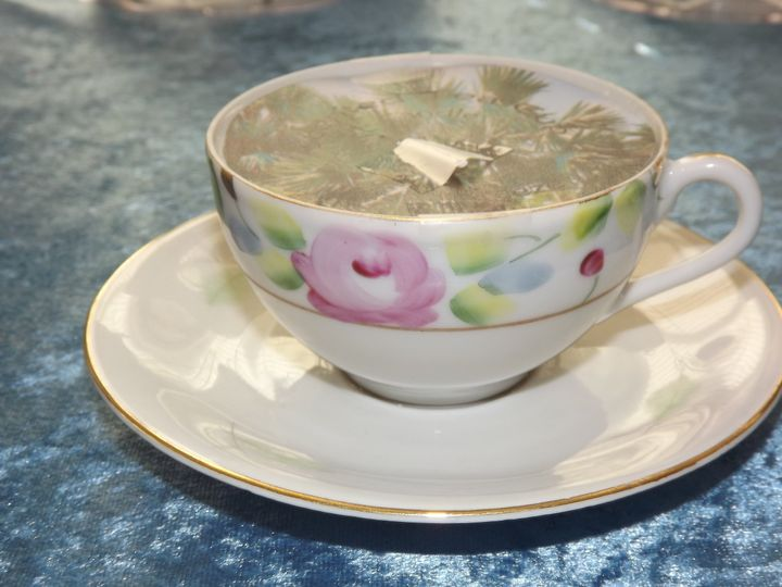 Personalized vintage tea cup candle - cup designs vary, or bring your own and we can create candles...