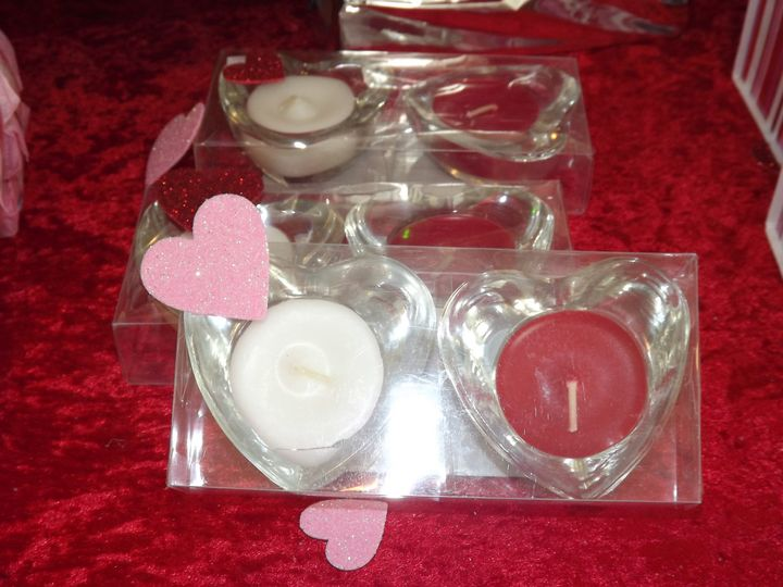 Handmade tea lights in glass holders - heart shaped shown here but ask about our other designs!...