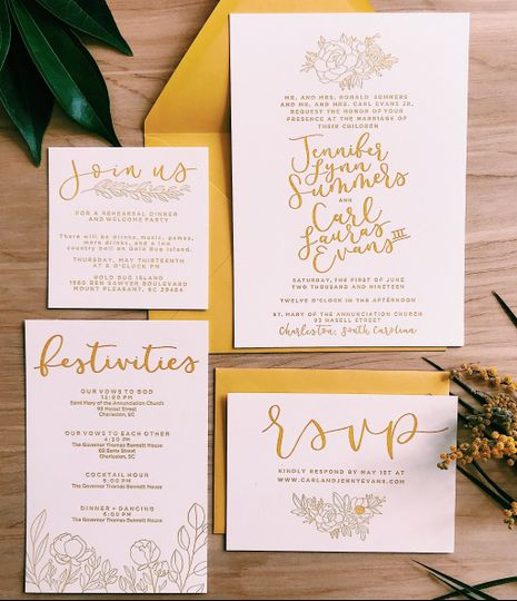 Elegant letterpress invitations