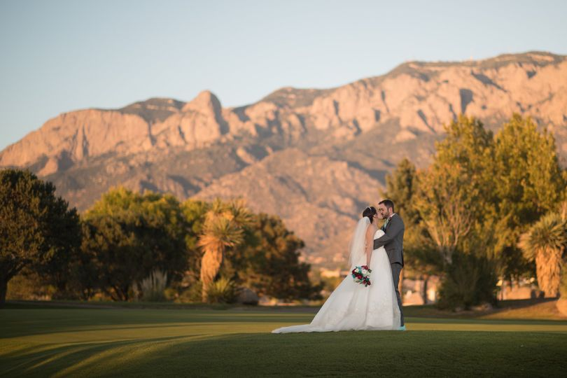 Kissing beside the Sandia Mountains