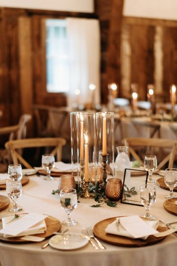 Table settings and centerpiece