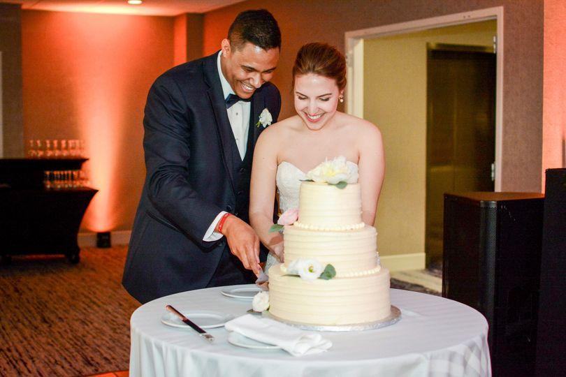 Couple's cake cutting