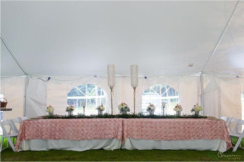 Outdoor tent wedding,  Deer Mountain Events, blush pink headtable