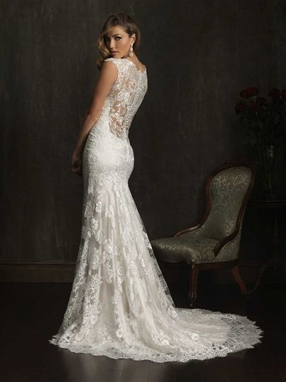 Allure Bridals style 9068. Low all over lace back. Simply stunning available at Encore Bridal in...