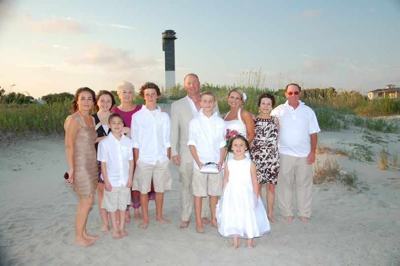 Bride and Groom with family - Sullivan's Island SC
