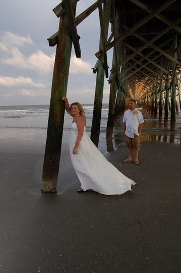 A fun picture under the pier on Folly Beach SC