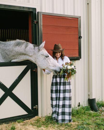 Bridesmaid and horse