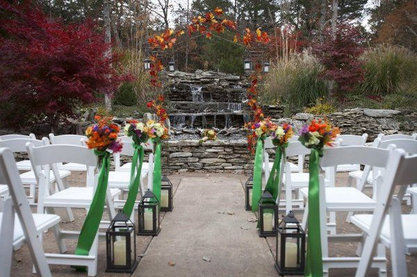 Autumn ceremony in front of one of many water features at the resort