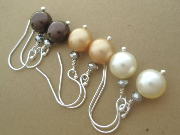 Sterling Silver Crystal Pearl Earrings for Brides, Bridesmaids, Flower Girls, Mother of Bride,...