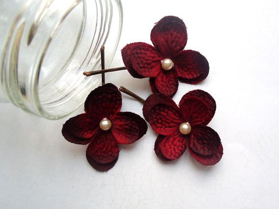 Red Hydrangea Bobby Pins. Choose Blonde, Brown, or Black Bobby Pins. Set of 3....