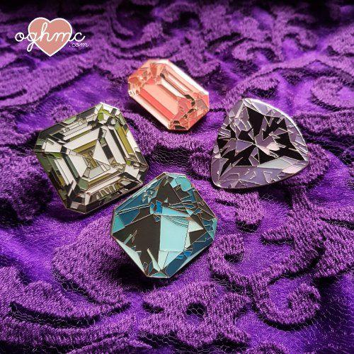 Gemstone enamel pins + epoxy