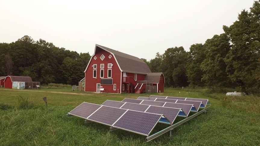 Barn and solar panels