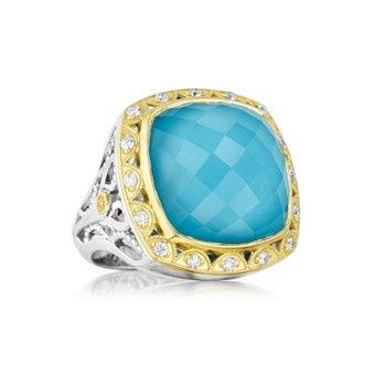 Sky blue stone with gold ring