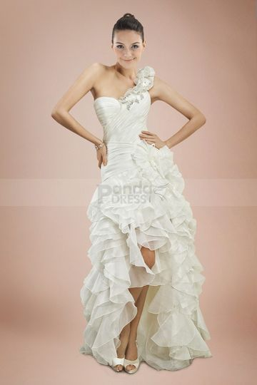 aline satin chiffon one shoulder asymmetrical tiered wedding dress1