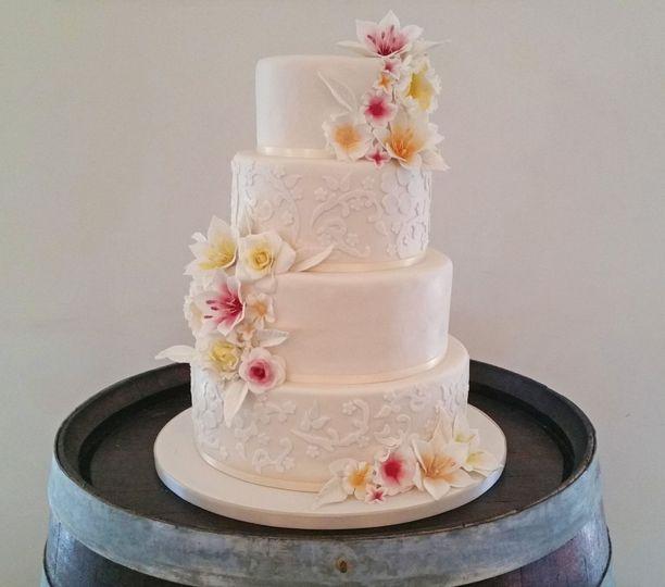 Fondant and flowers cake