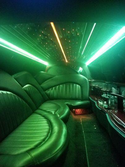 Inside 9 passenger limousine