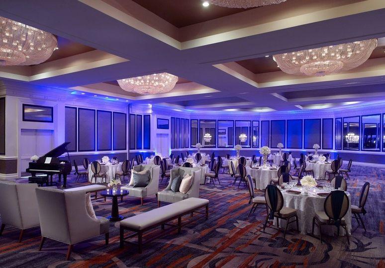 Grand Ballroom with Blue Up-lighting.
