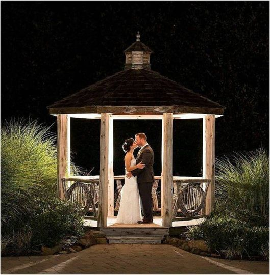 The newlyweds at the gazebo