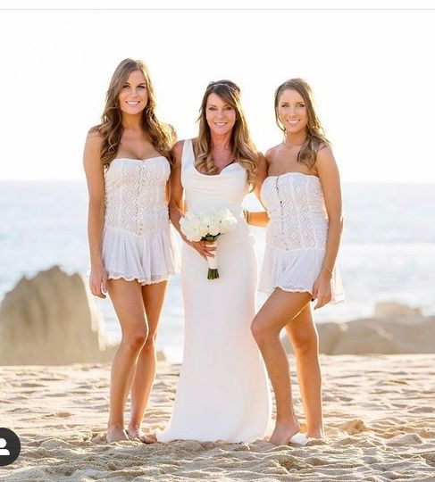 Beach wedding tans