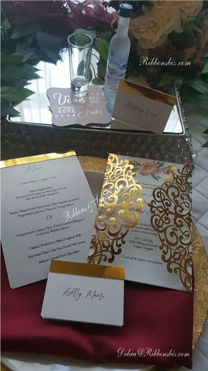 Gold Laser Cut Menu & Invitati