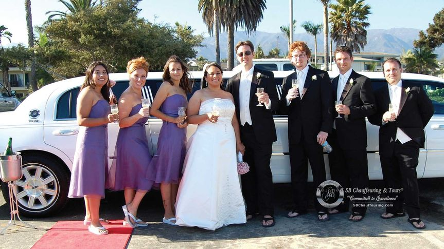 Newlyweds and their guests by the limo