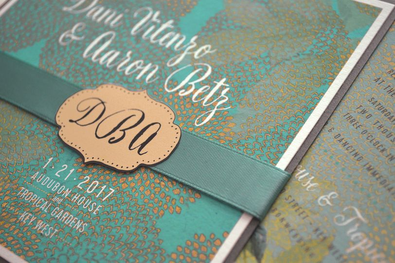 Rich, colorful and sophisticated layered wedding invitation