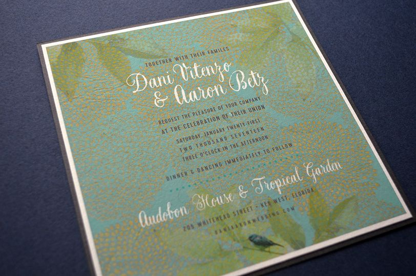 Rich, colorful and sophisticated layered wedding reception card
