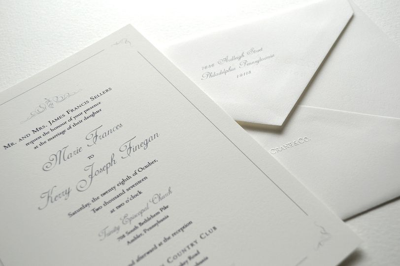 Silver accents and matching envelope