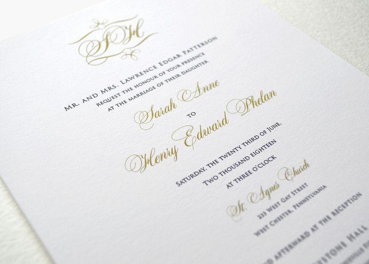 Simple, classic, elegant script wedding invitation
