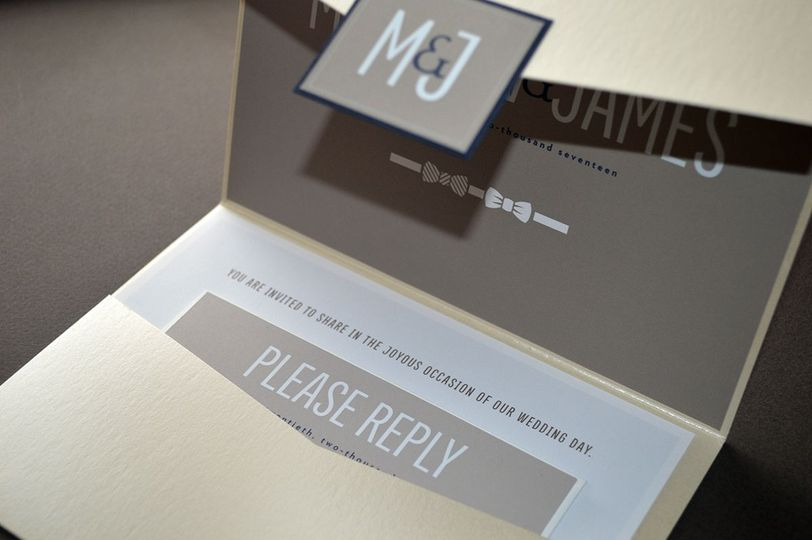 Opalescent pocketfold wedding invitation