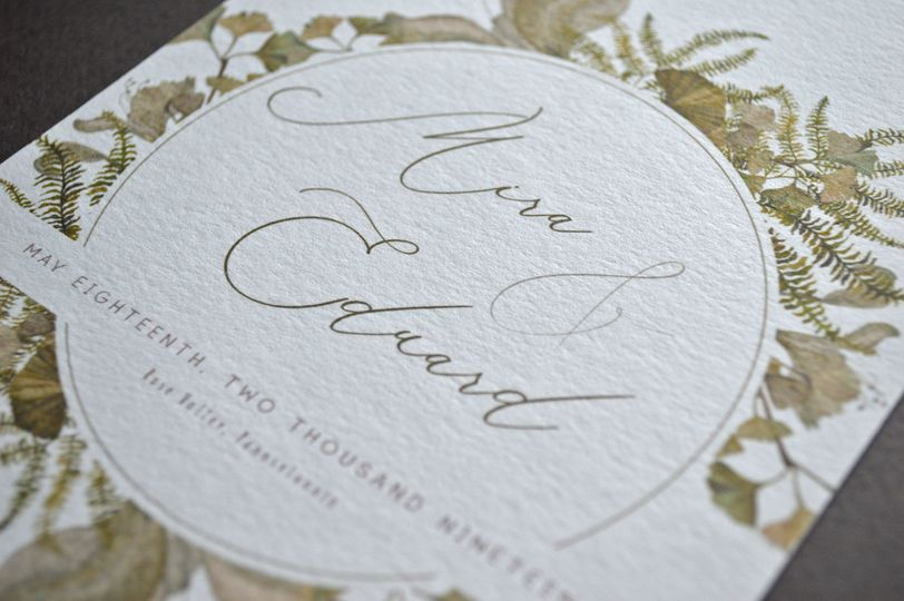 Romantic, elegant wedding invitation with flowing script