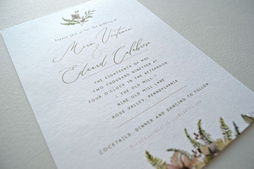 Romantic, elegant wedding reception card